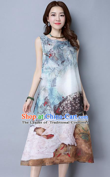 Traditional Ancient Chinese National Costume, Elegant Hanfu Qipao Painting Dress, China Tang Suit Cheongsam Upper Outer Garment Elegant Dress Clothing for Women