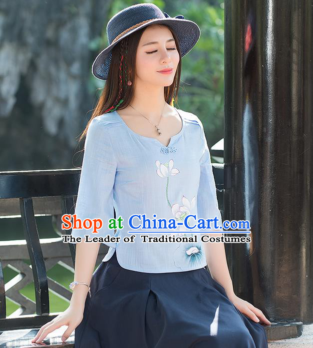Traditional Chinese National Costume, Elegant Hanfu Painting Lotus Flowers Round Collar Blue T-Shirt, China Tang Suit Plated Buttons Blouse Cheongsam Upper Outer Garment Qipao Shirts Clothing for Women