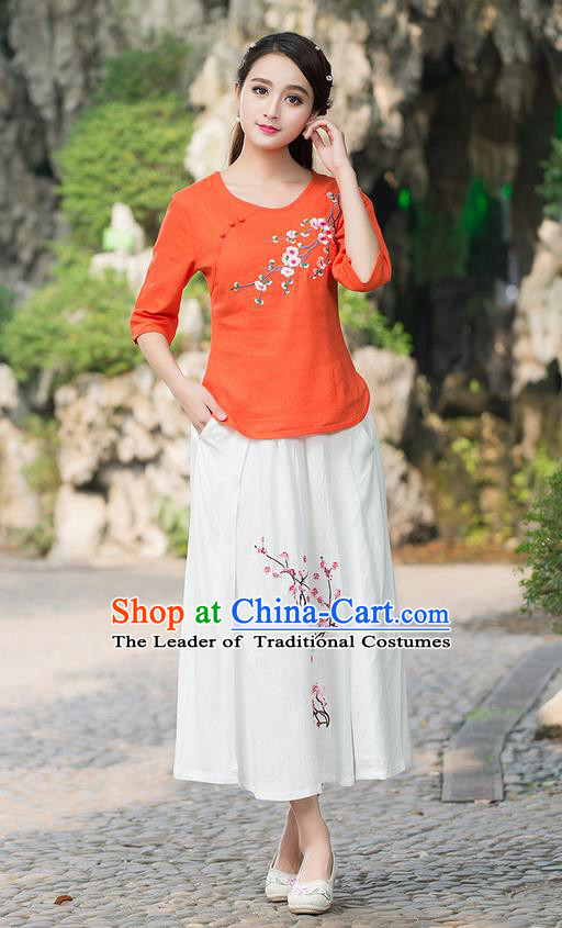 Traditional Chinese National Costume, Elegant Hanfu Embroidery Plum Blossom Round Collar Orange T-Shirt, China Tang Suit Plated Buttons Blouse Cheongsam Upper Outer Garment Qipao Shirts Clothing for Women