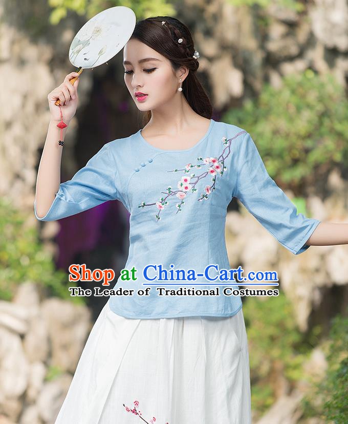 Traditional Chinese National Costume, Elegant Hanfu Embroidery Plum Blossom Round Collar Blue T-Shirt, China Tang Suit Plated Buttons Blouse Cheongsam Upper Outer Garment Qipao Shirts Clothing for Women