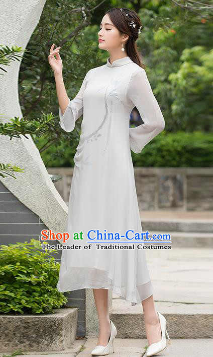 Traditional Ancient Chinese National Costume, Elegant Hanfu Mandarin Qipao Ink Painting Chiffon Dress, China Tang Suit Cheongsam Upper Outer Garment Elegant Dress Clothing for Women