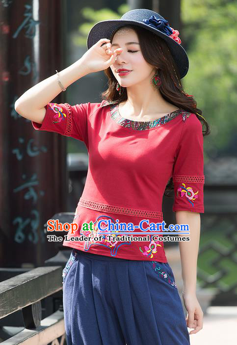 Traditional Chinese National Costume, Elegant Hanfu Embroidery Flowers Red T-Shirt, China National Minority Tang Suit Blouse Cheongsam Upper Outer Garment Qipao Shirts Clothing for Women