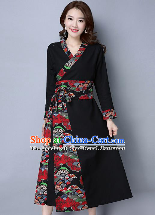 Traditional Ancient Chinese National Costume, Elegant Hanfu Spell Color Black Dress, China National Minority Style Tang Suit Cheongsam Upper Outer Garment Elegant Dress Clothing for Women