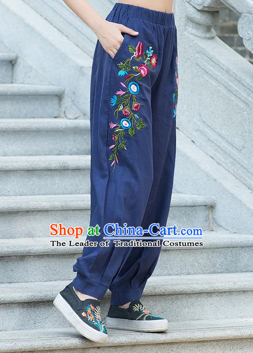 Traditional Chinese National Costume Plus Fours, Elegant Hanfu Embroidered Navy Bloomers, China Ethnic Minorities Tang Suit Pantalettes for Women