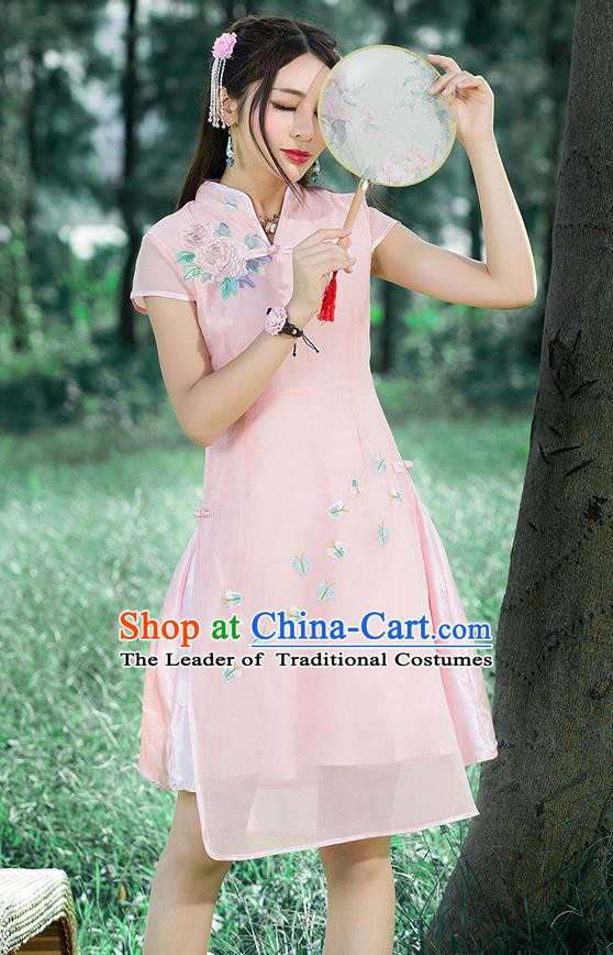 Traditional Ancient Chinese National Costume, Elegant Hanfu Mandarin Qipao Embroidered Pink Stand Collar Dress, China Tang Suit Plated Buttons Cheongsam Upper Outer Garment Elegant Dress Clothing for Women
