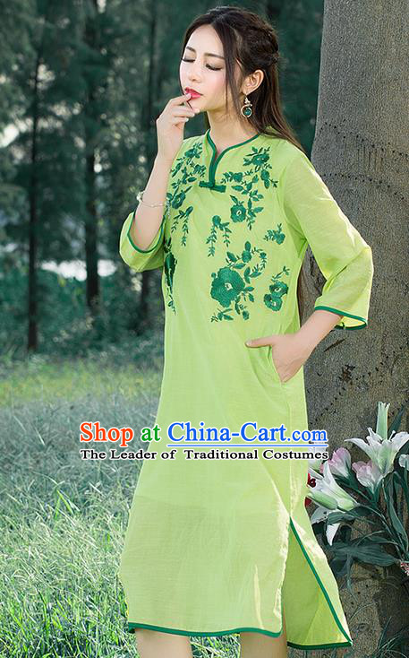 Traditional Ancient Chinese National Costume, Elegant Hanfu Mandarin Qipao Linen Embroidered Chirpaur Green Dress, China Tang Suit Cheongsam Upper Outer Garment Elegant Dress Clothing for Women