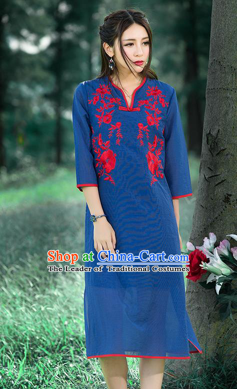 Traditional Ancient Chinese National Costume, Elegant Hanfu Mandarin Qipao Linen Embroidered Chirpaur Blue Dress, China Tang Suit Cheongsam Upper Outer Garment Elegant Dress Clothing for Women