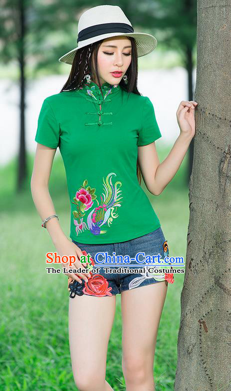 Traditional Chinese National Costume, Elegant Hanfu Embroidery Wear Peony Fung Stand Collar Green T-Shirt, China Tang Suit Plated Buttons Blouse Cheongsam Upper Outer Garment Qipao Shirts Clothing for Women
