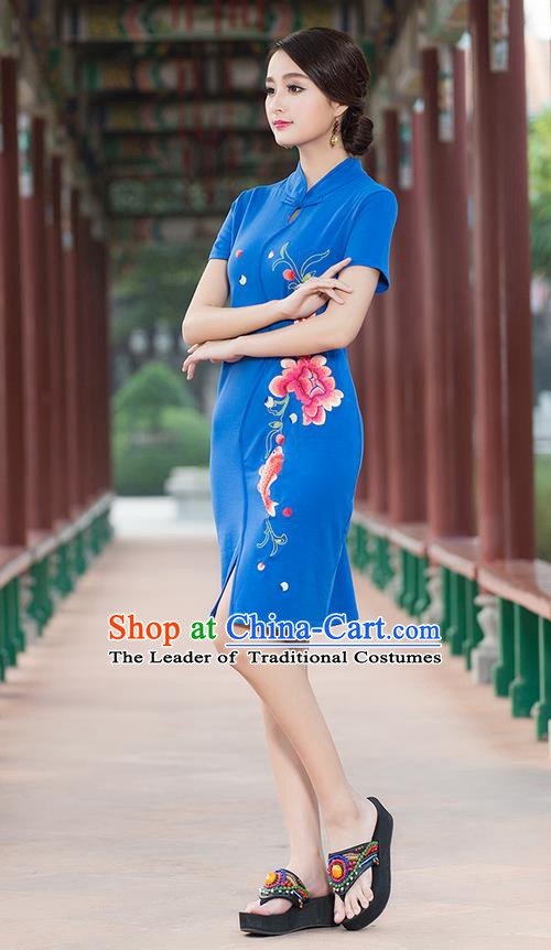 Traditional Ancient Chinese National Costume, Elegant Hanfu Stand Collar Mandarin Qipao Embroidered Blue Short Dress, China Tang Suit Cheongsam Upper Outer Garment Elegant Dress Clothing for Women