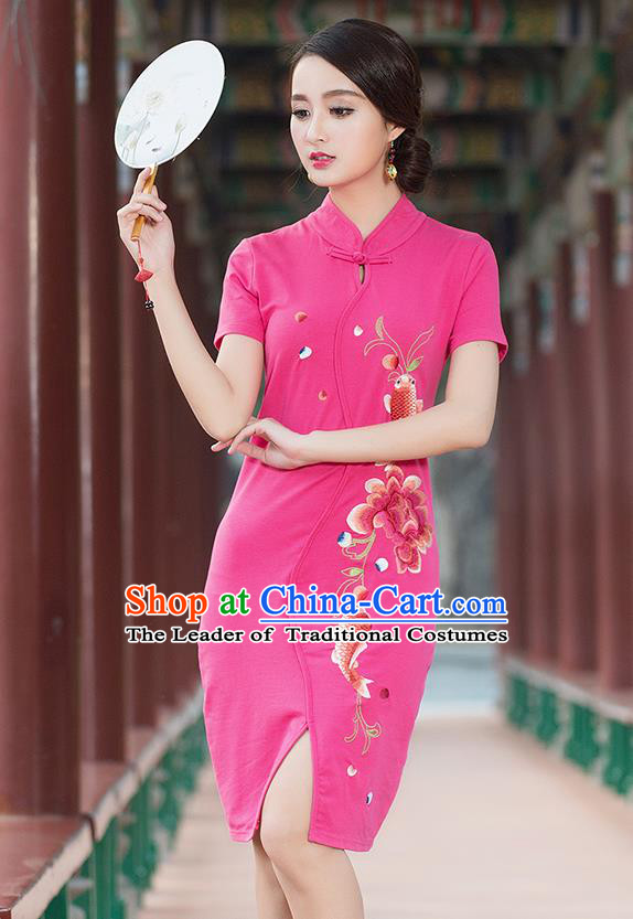 Traditional Ancient Chinese National Costume, Elegant Hanfu Stand Collar Mandarin Qipao Embroidered Pink Short Dress, China Tang Suit Cheongsam Upper Outer Garment Elegant Dress Clothing for Women