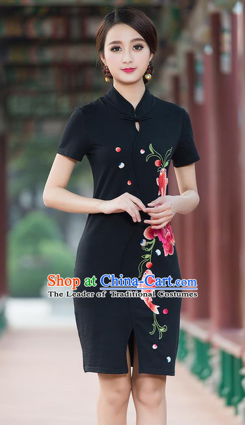 Traditional Ancient Chinese National Costume, Elegant Hanfu Stand Collar Mandarin Qipao Embroidered Black Short Dress, China Tang Suit Cheongsam Upper Outer Garment Elegant Dress Clothing for Women