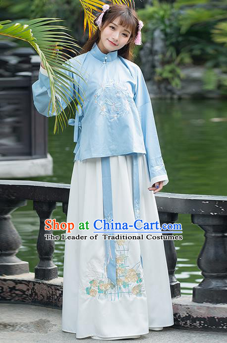 Traditional Ancient Chinese Costume, Elegant Hanfu Clothing Embroidered Stand Collar Blouse and Dress, China Ming Dynasty Elegant Slant Opening Blouse and Skirt Complete Set for Women
