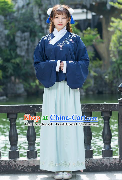 Traditional Ancient Chinese Costume, Elegant Hanfu Clothing Embroidered Sleeve Placket Blue Blouse and Dress, China Ming Dynasty Elegant Slant Opening Blouse and Skirt Complete Set for Women