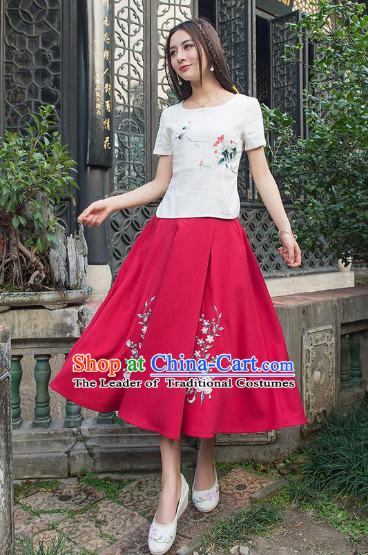 Traditional Ancient Chinese National Pleated Skirt Costume, Elegant Hanfu Embroidered Long Linen Dress, China Tang Suit Red Bust Skirt for Women