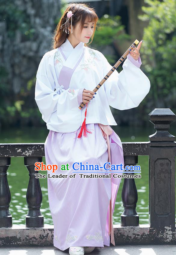 Traditional Ancient Chinese Costume, Elegant Hanfu Clothing Embroidered Sleeve Placket White Blouse and Dress, China Ming Dynasty Elegant Slant Opening Blouse and Skirt Complete Set for Women