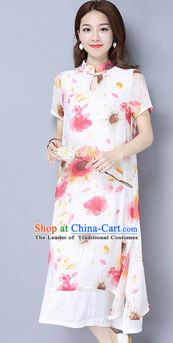 Traditional Ancient Chinese National Costume, Elegant Hanfu Mandarin Qipao Linen Hand Painting Red Dress, China Tang Suit Republic of China Cheongsam Upper Outer Garment Elegant Dress Clothing for Women