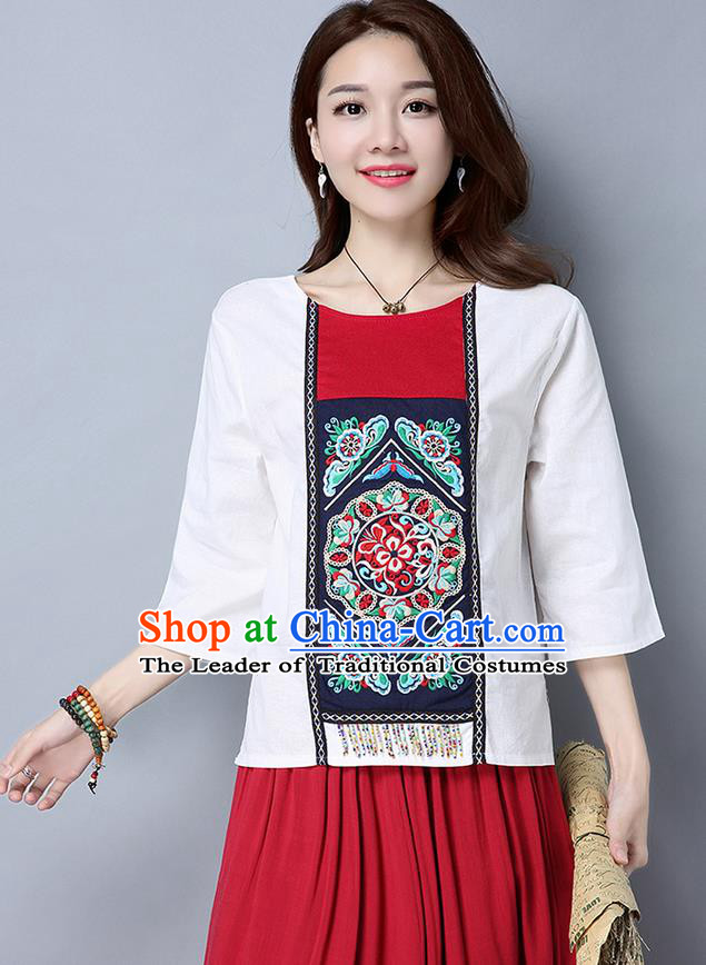 Traditional Chinese National Costume, Elegant Hanfu Embroidery Round Collar White T-Shirt, China Miao National Minority Tang Suit Blouse Cheongsam Upper Outer Garment Shirts Clothing for Women