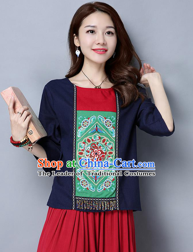 Traditional Chinese National Costume, Elegant Hanfu Embroidery Round Collar Navy T-Shirt, China Miao National Minority Tang Suit Blouse Cheongsam Upper Outer Garment Shirts Clothing for Women