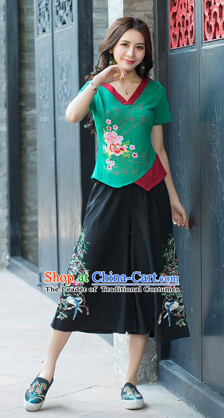Traditional Chinese National Costume, Elegant Hanfu Embroidery Flowers Irregular Skirt Green T-Shirt, China Tang Suit Blouse Cheongsam Upper Outer Garment Qipao Shirts Clothing for Women