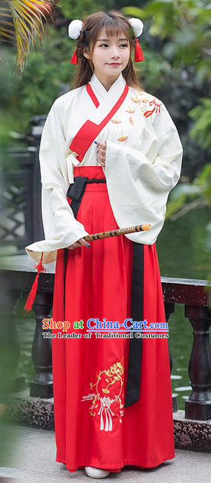 Traditional Ancient Chinese Costume, Elegant Hanfu Clothing Embroidered Ginkgo Blouse and Dress, China Han Dynasty Elegant Blouse and Skirt Complete Set for Women