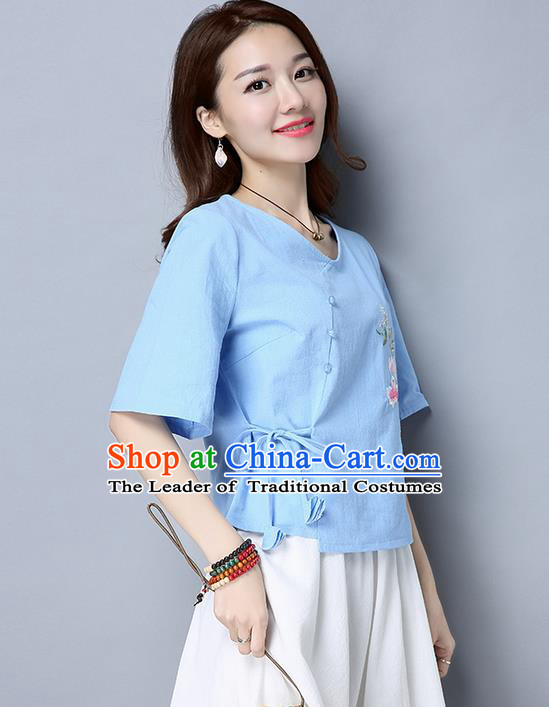 Traditional Chinese National Costume, Elegant Hanfu Embroidery Blue T-Shirt, China Tang Suit Republic of China Plated Buttons Blouse Cheongsam Upper Outer Garment Qipao Shirts Clothing for Women