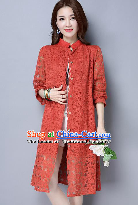 Traditional Ancient Chinese National Costume, Elegant Hanfu Lace Red Coat, China Tang Suit Upper Outer Garment Dust Coat Cloak Clothing for Women
