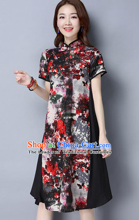 Traditional Ancient Chinese National Costume, Elegant Hanfu Mandarin Qipao Printing Dress, China Tang Suit Chirpaur Republic of China Cheongsam Upper Outer Garment Elegant Dress Clothing for Women