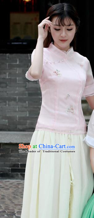 Traditional Chinese National Costume, Elegant Hanfu Embroidery Flowers Stand Collar Pink Shirt, China Tang Suit Republic of China Plated Buttons Blouse Cheongsam Upper Outer Garment Qipao Shirts Clothing for Women