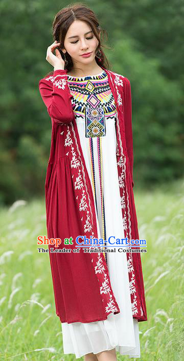 Traditional Ancient Chinese National Costume, Elegant Hanfu Red Cardigan, China Tang Suit Embroidery Cape, Upper Outer Garment Dust Coat Cloak Clothing for Women