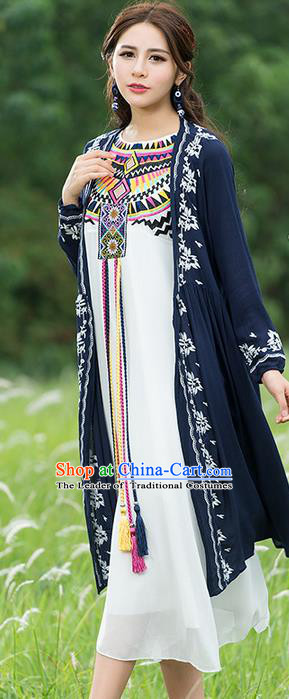 Traditional Ancient Chinese National Costume, Elegant Hanfu Royalblue Cardigan, China Tang Suit Embroidery Cape, Upper Outer Garment Dust Coat Cloak Clothing for Women