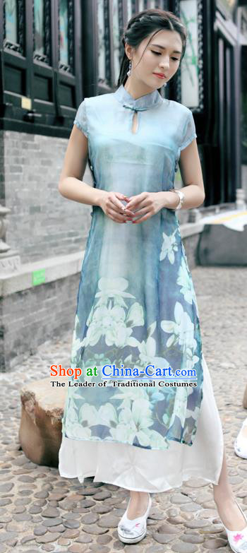 Traditional Ancient Chinese National Costume, Elegant Hanfu Mandarin Qipao Silk Ink Painting Peacock Blue Dress, China Tang Suit Chirpaur Republic of China Cheongsam Upper Outer Garment Elegant Dress Clothing for Women