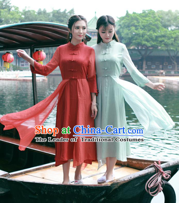 Traditional Ancient Chinese National Costume, Elegant Hanfu Mandarin Qipao Dress, China Tang Suit Stand Collar Chirpaur Republic of China Cheongsam Upper Outer Garment Elegant Dress Clothing for Women