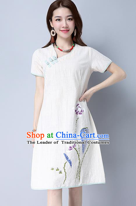 Traditional Ancient Chinese National Costume, Elegant Hanfu Embroidery Linen Printing Dress, China Tang Suit Chirpaur Republic of China Cheongsam Upper Outer Garment Elegant Dress Clothing for Women