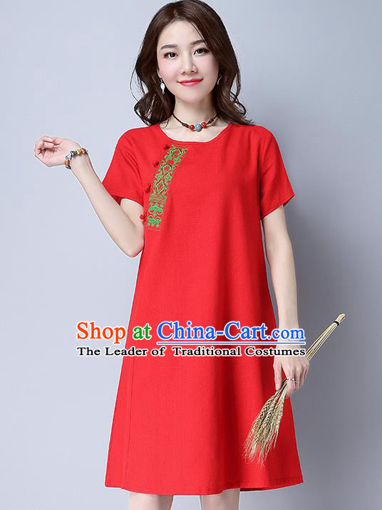 Traditional Ancient Chinese National Costume, Elegant Hanfu Embroidery Red Dress, China Tang Suit Chirpaur Republic of China Upper Outer Garment Elegant Dress Clothing for Women