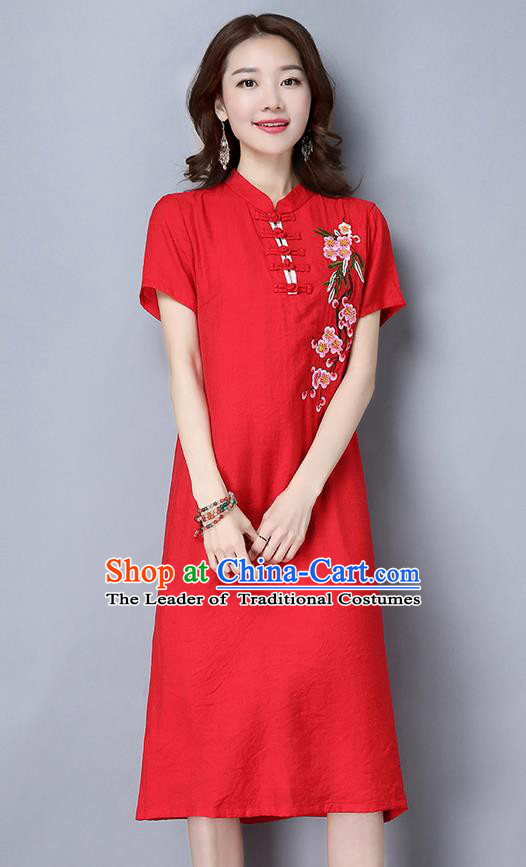 Traditional Ancient Chinese National Costume, Elegant Hanfu Mandarin Qipao Embroidered Peach Blossom Red Dress, China Tang Suit Stand Collar Chirpaur Republic of China Cheongsam Upper Outer Garment Elegant Dress Clothing for Women