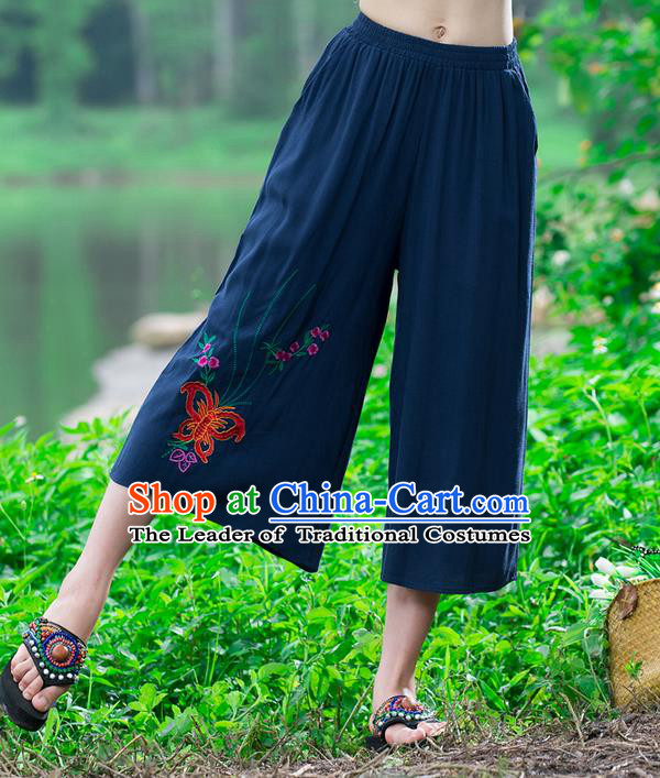 Traditional Chinese National Costume Loose Pants, Elegant Hanfu Embroidered Butterfly Navy Wide-leg Trousers, China Ethnic Minorities Folk Dance Baggy Pants for Women