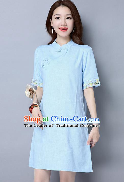 Traditional Ancient Chinese National Costume, Elegant Hanfu Mandarin Qipao Brocade Embroidered Blue Dress, China Tang Suit Chirpaur Republic of China Cheongsam Upper Outer Garment Elegant Dress Clothing for Women