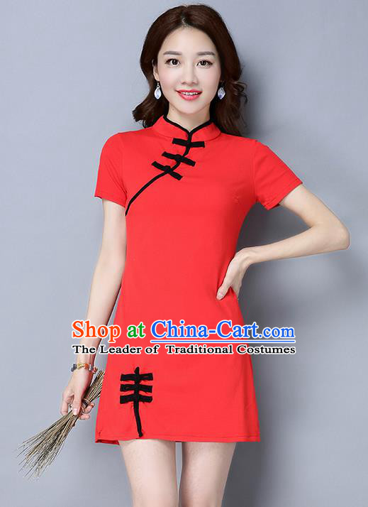 Traditional Ancient Chinese National Costume, Elegant Hanfu Mandarin Qipao Linen Red Dress, China Tang Suit Plated Buttons Short Chirpaur Republic of China Cheongsam Upper Outer Garment Elegant Dress Clothing for Women