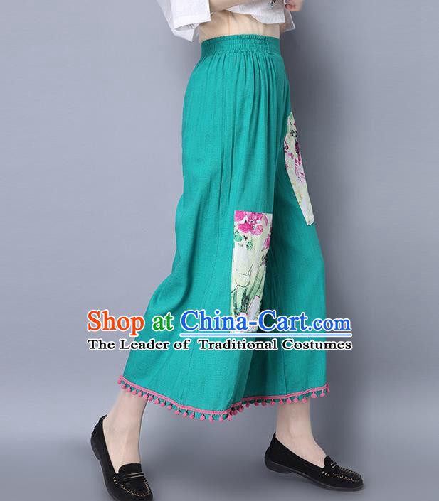 Traditional Chinese National Costume Loose Pants, Elegant Hanfu Green Wide-leg Trousers, China Ethnic Minorities Folk Dance Baggy Pants for Women