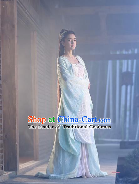 Traditional Ancient Chinese Female Swordsman Costume, Chinese Warring States Period Imperial Princess Fairy Elegant Dress, Cosplay Princess Chinese Nobility Hanfu Tailing Clothing for Women
