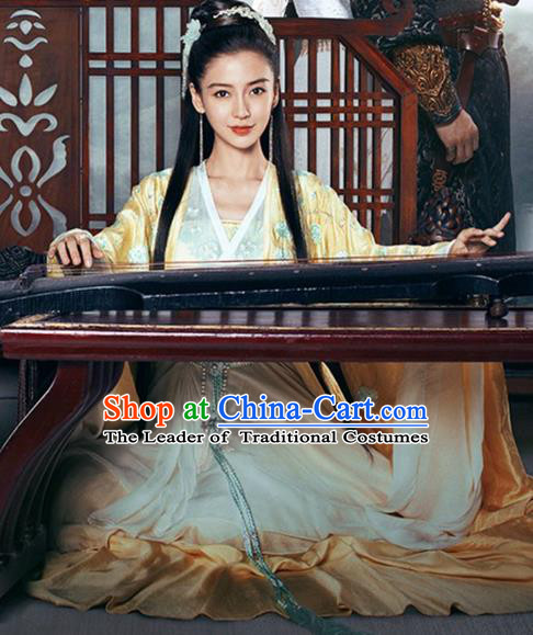 Traditional Ancient Chinese Female Swordsman Costume, Chinese Warring States Period Imperial Princess Fairy Elegant Dress, Cosplay Imperial Consort Chinese Nobility Hanfu Tailing Clothing for Women