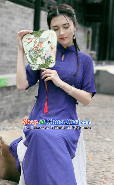Traditional Ancient Chinese National Costume, Elegant Hanfu Mandarin Qipao Linen Purple Dress, China Tang Suit Chirpaur Republic of China Cheongsam Upper Outer Garment Elegant Dress Clothing for Women