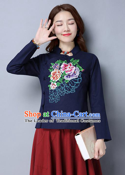 Traditional Chinese National Costume, Elegant Hanfu Embroidery Slant Opening Stand Collar Navy T-Shirt, China Tang Suit Republic of China Plated Buttons Blouse Cheongsam Upper Outer Garment Qipao Shirts Clothing for Women