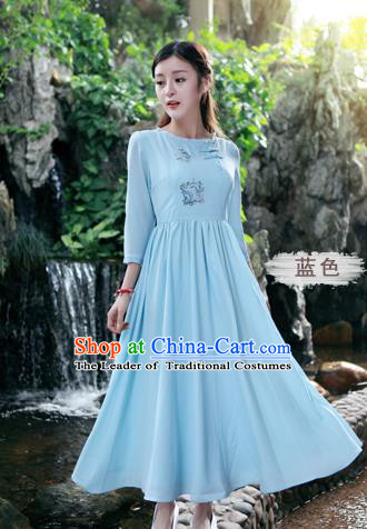 Traditional Ancient Chinese National Costume, Elegant Hanfu Linen Embroidery Blue Dress, China Tang Suit Chirpaur Republic of China Cheongsam Upper Outer Garment Elegant Dress Clothing for Women