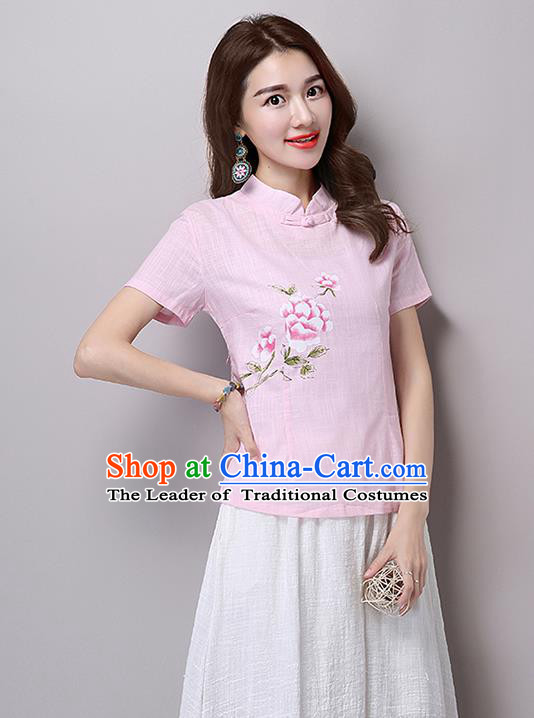 Traditional Chinese National Costume, Elegant Hanfu Printing Flowers Slant Opening Pink T-Shirt, China Tang Suit Republic of China Plated Buttons Blouse Cheongsam Upper Outer Garment Qipao Shirts Clothing for Women