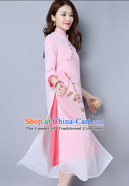 Traditional Ancient Chinese National Costume, Elegant Hanfu Mandarin Qipao Double-Deck Printing Pink Dress, China Tang Suit Linen Chirpaur Republic of China Cheongsam Upper Outer Garment Elegant Dress Clothing for Women