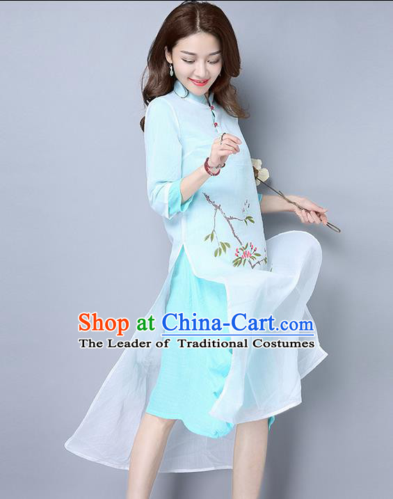 Traditional Ancient Chinese National Costume, Elegant Hanfu Mandarin Qipao Double-Deck Printing Blue Dress, China Tang Suit Linen Chirpaur Republic of China Cheongsam Upper Outer Garment Elegant Dress Clothing for Women