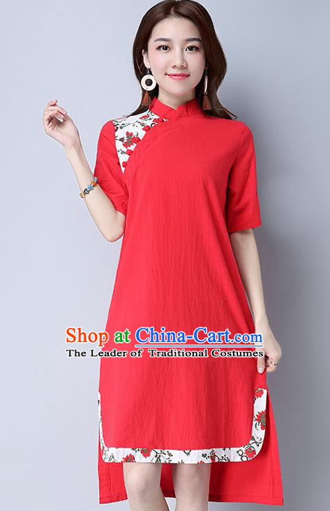 Traditional Ancient Chinese National Costume, Elegant Hanfu Mandarin Qipao Linen Red Dress, China Tang Suit Chirpaur Cheongsam Upper Outer Garment Elegant Dress Clothing for Women