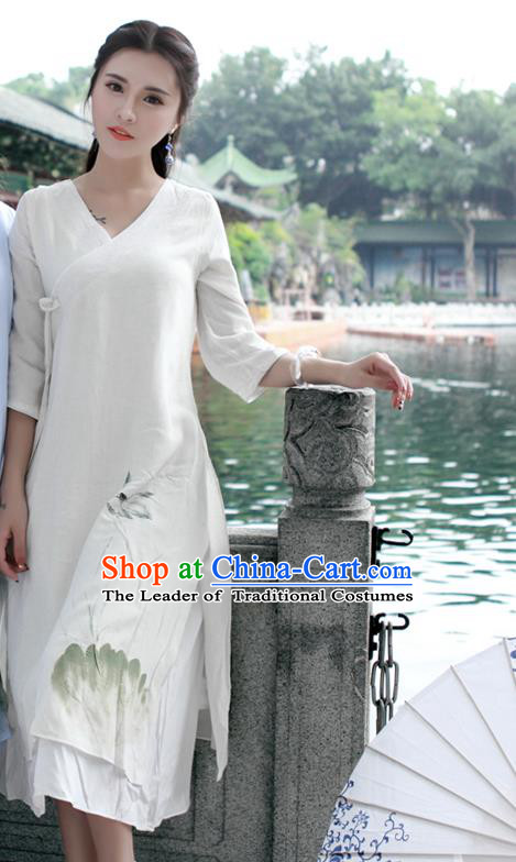Traditional Ancient Chinese National Costume, Elegant Hanfu Mandarin Qipao Linen Painting Lotus White Dress, China Tang Suit Chirpaur Republic of China Cheongsam Upper Outer Garment Elegant Dress Clothing for Women