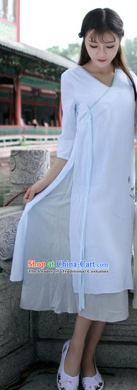 Traditional Ancient Chinese National Costume, Elegant Hanfu Mandarin Qipao Linen Painting Lotus Beige Dress, China Tang Suit Chirpaur Republic of China Cheongsam Upper Outer Garment Elegant Dress Clothing for Women